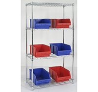 240kg Chrome Wire Starter Shelving Bay 1895mm x 1220mm x 355mm