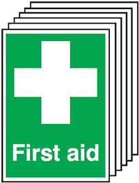 First Aid   210x148mm 1.2mm Rigid Plastic Safety Sign Pack of 6