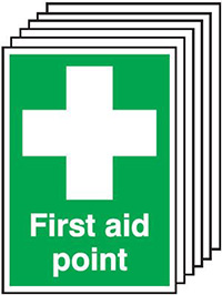 First Aid Point   210x148mm 1.2mm Rigid Plastic Safety Sign Pack of 6