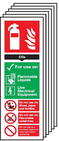 CO2 Fire Extinguisher Sign  300x100mm 1.2mm Rigid Plastic Safety Sign Pack of 6