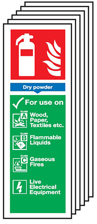 Dry Powder Fire Extinguisher Sign   300x100mm 1.2mm Rigid Plastic Safety Sign Pack of 6