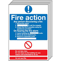 Fire Action Notice  Standard   210x148mm 1.2mm Rigid Plastic Safety Sign Pack of 6
