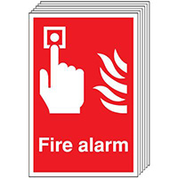 Fire Alarm   210x148mm 1.2mm Rigid Plastic Safety Sign Pack of 6