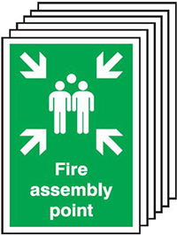 Fire Assembly Point   300x250mm 1.2mm Rigid Plastic Safety Sign Pack of 6