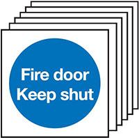 Fire Door Keep Shut  100x100mm 1.2mm Rigid Plastic Safety Sign Pack of 6