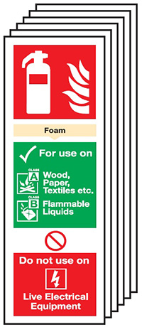 Foam Extinguisher For Use On   300x100mm 1.2mm Rigid Plastic Safety Sign Pack of 6