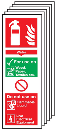 Water Extinguisher For Use On   300x100mm 1.2mm Rigid Plastic Safety Sign Pack of 6