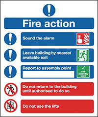 Fire Action Notice  Symbolised   210x148mm 1.2mm Rigid Plastic Safety Sign Pack of 6