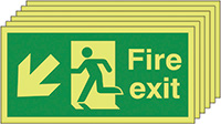 Fire Exit Running Man Arrow Down Left   150x300mm 1.2mm Rigid Plastic Safety Sign Pack of 6