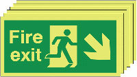 Fire Exit Running Man Arrow Down Right   150x300mm 1.2mm Rigid Plastic Safety Sign Pack of 6