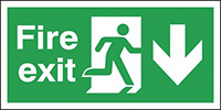 Fire Exit Running Man Arrow Down   150x300mm 1.2mm Rigid Plastic Safety Sign Pack of 6