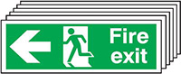 Fire Exit Running Man Arrow Left   150x300mm 1.2mm Rigid Plastic Safety Sign Pack of 6