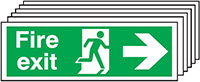 Fire Exit Running Man Arrow Right   150x300mm 1.2mm Rigid Plastic Safety Sign Pack of 6