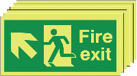 Fire Exit Running Man Arrow Up Left   150x300mm 1.2mm Rigid Plastic Safety Sign Pack of 6