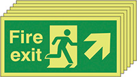 Fire Exit Running Man Arrow Up Right   150x300mm 1.2mm Rigid Plastic Safety Sign Pack of 6