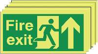 Fire Exit Running Man Arrow Up   150x300mm 1.2mm Rigid Plastic Safety Sign Pack of 6