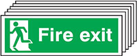 Fire Exit Running Man Left   150x300mm 1.2mm Rigid Plastic Safety Sign Pack of 6