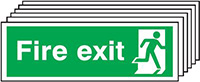 Fire Exit Running Man Right   150x300mm 1.2mm Rigid Plastic Safety Sign Pack of 6