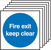 150x150mmFire Exit Keep Clear  150x150mm 1.2mm Rigid Plastic Safety Sign Pack of 6
