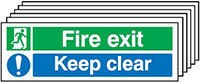 Fire Exit Keep Clear   150x300mm 1.2mm Rigid Plastic Safety Sign Pack of 6