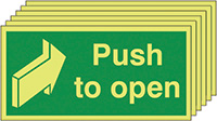 Push To Open  50x100mm 1.2mm Nite Glo Rigid Safety Sign Pack of 6