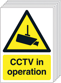 Thumbnail CCTV in Operation  420x297mm 1.2mm Rigid Plastic Safety Sign Pack of 6