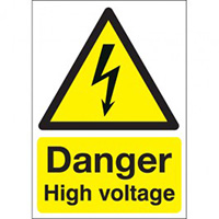Danger High Voltage  210x148mm Self Adhesive Vinyl Safety Sign Pack of 6