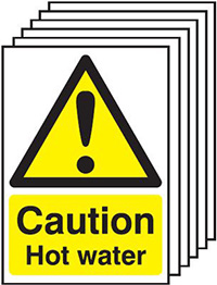 Caution Hot Water  210x148mm 1.2mm Rigid Plastic Safety Sign Pack of 6
