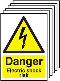 Thumbnail Danger Electric Shock Risk  297x210mm 1.2mm Rigid Plastic Safety Sign Pack of 6