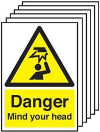 Thumbnail Danger Mind Your Head  420x297mm Self Adhesive Vinyl Safety Sign Pack of 6