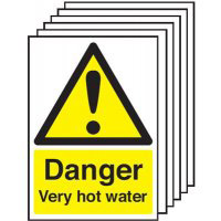 Danger Vey Hot Water  210x148mm 1.2mm Rigid Plastic Safety Sign Pack of 6
