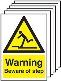 Warning Beware of Step  210x148mm 1.2mm Rigid Plastic Safety Sign Pack of 6