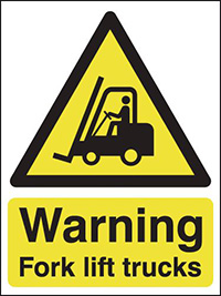 Thumbnail Warning Forklift Trucks  210x148mm Self Adhesive Vinyl Safety Sign Pack of 6