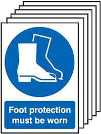 Foot Protection Must Be Worn  210x148mm 1.2mm Rigid Plastic Safety Sign Pack of 6