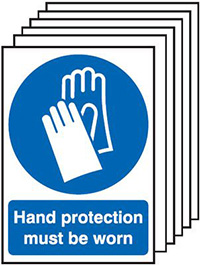 Hand Protection Must Be Worn  210x148mm 1.2mm Rigid Plastic Safety Sign Pack of 6