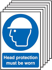 Head Protection Must Be Worn  210x148mm 1.2mm Rigid Plastic Safety Sign Pack of 6
