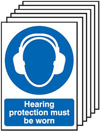 Hearing Protection Must Be Worn  210x148mm 1.2mm Rigid Plastic Safety Sign Pack of 6