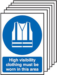 High Visibility Clothing Must Be Worn In This Area   210x148mm 1.2mm Rigid Plastic Safety Sign Pack of 6
