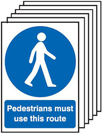 Pedestrians Must Use This Route  210x148mm 1.2mm Rigid Plastic Safety Sign Pack of 6