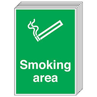 Smoking Area    210x148mm 1.2mm Rigid Plastic Safety Sign Pack of 6