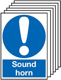 Sound Horn  210x148mm 1.2mm Rigid Plastic Safety Sign Pack of 6