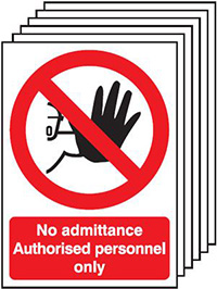 No Admittance Authorised Personnel Only   210x148mm 1.2mm Rigid Plastic Safety Sign Pack of 6