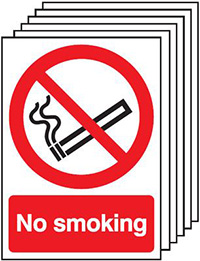 No Smoking    210x148mm 1.2mm Rigid Plastic Safety Sign Pack of 6