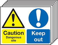 Caution Dangerous Site Keep Out 450x600mm 1.2mm Rigid Plastic Safety Sign Pack of 6