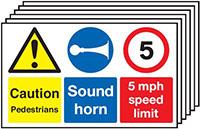 Caution Pedestrians Sound Horn 5mph Speed Limit  300x500mm 1.2mm Rigid Plastic Safety Sign Pack of 6