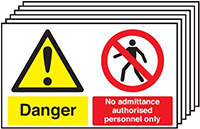 Danger No Admittance Authorised Personnel Only  300x500mm 1.2mm Rigid Plastic Safety Sign Pack of 6