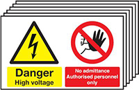 Danger High Voltage No Admittance Authorised Personnel Only  300x500mm 1.2mm Rigid Plastic Safety Sign Pack of 6