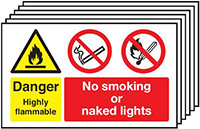 Danger Highly Flammable No Smoking No Naked Lights  300x500mm 1.2mm Rigid Plastic Safety Sign Pack of 6