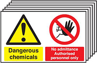 Dangerous Chemicals No Admittance Authorised Personnel Only 300x500mm 1.2mm Rigid Plastic Safety Sign Pack of 6