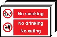 No Smoking No Drinking No Eating  300x500mm 1.2mm Rigid Plastic Safety Sign Pack of 6